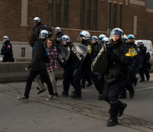 MONTREAL, QB. (15/03/14) - Police in riot gear Kettle demonstrators between Saint-Denis st and Saint Vallier st at the the 18th annual anti-police brutality protest on March 15th, 2014. Over 288 demonstrators were fined and 5 demonstrators were arrested. Photo By Jeremy Mckay